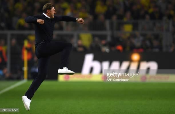 Leipzig's headcoach Ralph Hasenhuettl reacts after Leipzig won the German First division Bundesliga football match Borussia Dortmund vs RB Leipzig in...