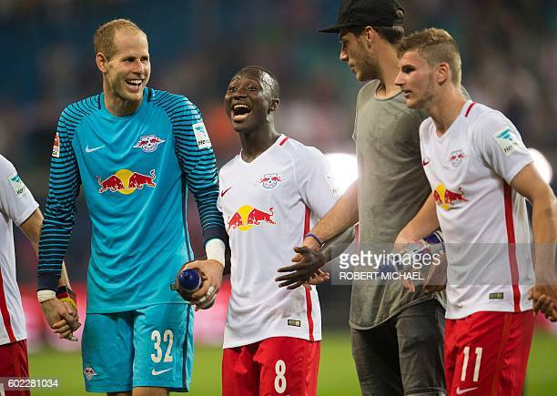 Leipzig's Hungarian goalkeeper Peter Gulacsi Guinean midfielder Naby Keita goalkeeper Marius Mueller and midfielder Timo Werner celebrate after...