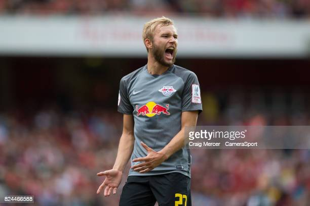 Leipzig's Konrad Laimer reacts during the Emirates Cup match between RB Leipzig and SL Benfica at Emirates Stadium on July 30 2017 in London England