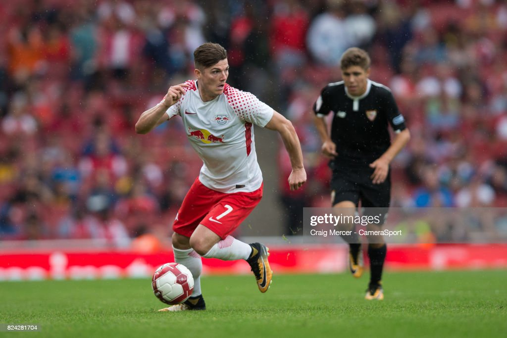 RB Leipzig's Marcel Sabitzer in action during the Emirates Cup match between RB Leipzig and Sevilla FC at Emirates Stadium on July 29, 2017 in London, England.