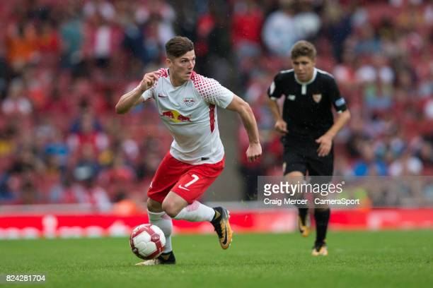 Leipzig's Marcel Sabitzer in action during the Emirates Cup match between RB Leipzig and Sevilla FC at Emirates Stadium on July 29 2017 in London...