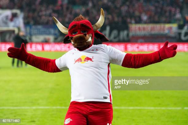 Leipzigs mascot Bulli is pictured during the German first division Bundesliga football match between RB Leipzig and Schalke 04 in Leipzig eastern...