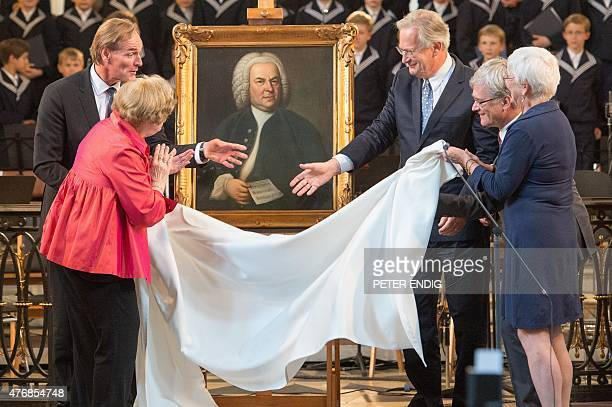 Leipzig's mayor Burkhard Jung Judith McCartin Scheide British conductor and President of the Bach archive Sir John Eliot Gardiner director of the...
