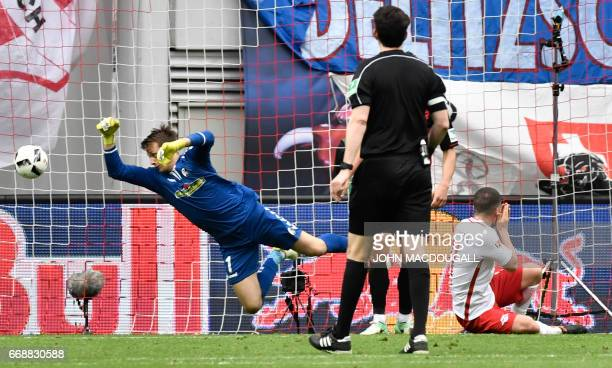 Leipzig's midfielder Diego Demme scores the fourth goal during the German First division Bundesliga football match between RB Leipzig and SC Freiburg...