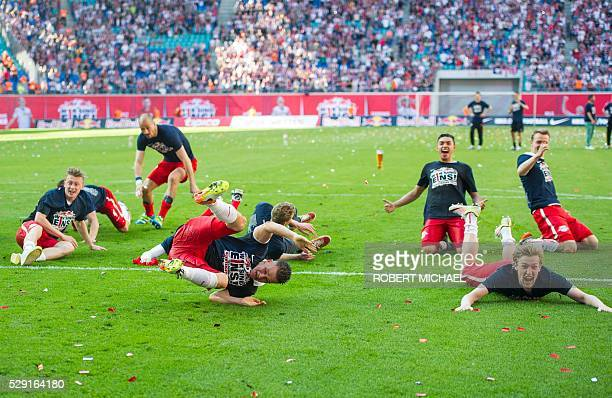Leipzig��s players celebrate after the German second division Bundesliga football match between RB Leipzig and Karlsruher SC at the Red Bull Arena in...