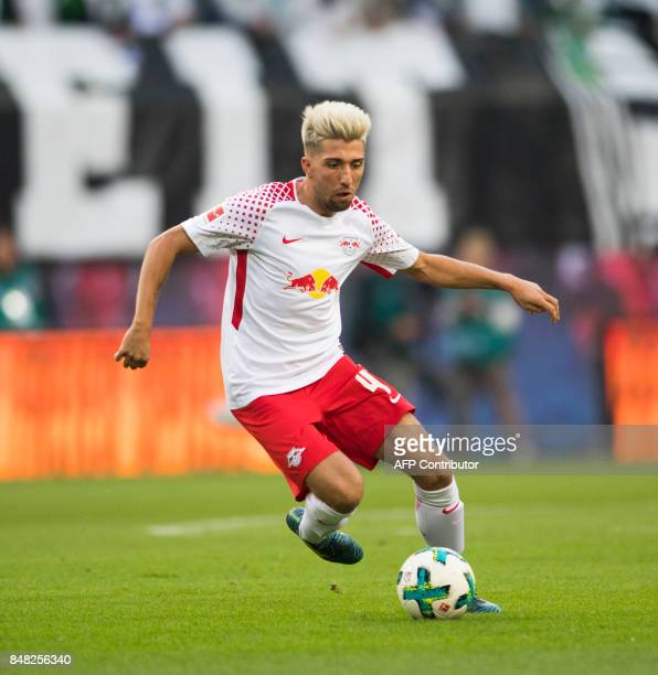 Leipzig´s Slovanian midfielder Kevin Kampl plays the ball during the German first division Bundesliga football match between RB Leipzig and Borussia...