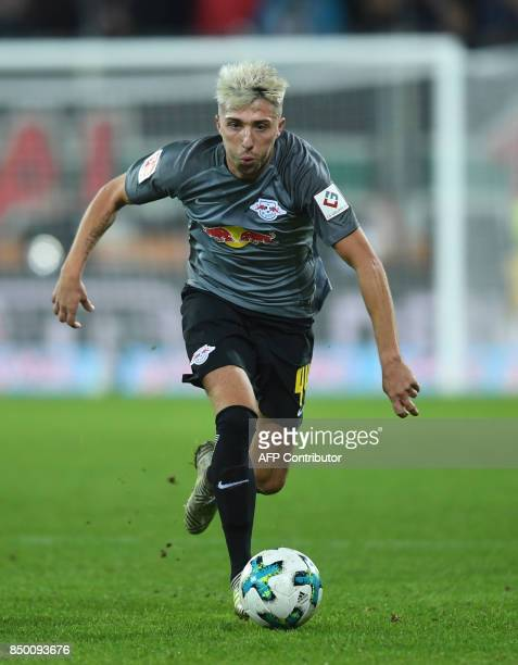 Leipzig's Slovanian midfielder Kevin Kampl plays the ball during the German First division Bundesliga football match between FC Augsburg and RB...