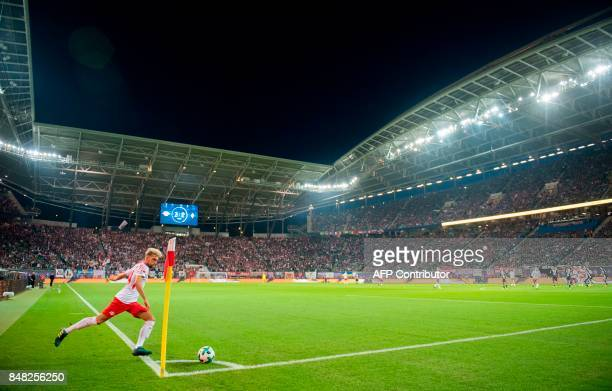 Leipzig´s Slovanian midfielder Kevin Kampl takes a corner kick during the German first division Bundesliga football match between RB Leipzig and...