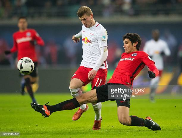 Leipzig´s striker Timo Werner and Eintracht Frankfurt's Spanish defender Jesus Vallejo vie for the ball during the German first division Bundesliga...