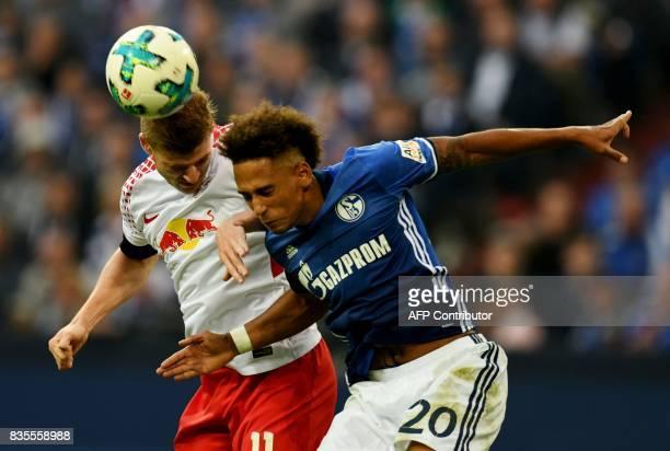 Leipzig´s striker Timo Werner and Schalke's defender Thilo Kehrer vie for the ball during the German First division Bundesliga football match FC...