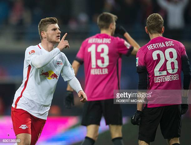 Leipzig´s striker Timo Werner celebrates after scoring during the German first division Bundesliga football match between RB Leipzig and Hertha BSC...