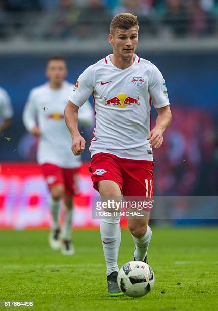 Leipzig´s striker Timo Werner plays the ball during the German first division Bundesliga football match between RB Leipzig and SV Werder Bremen in...