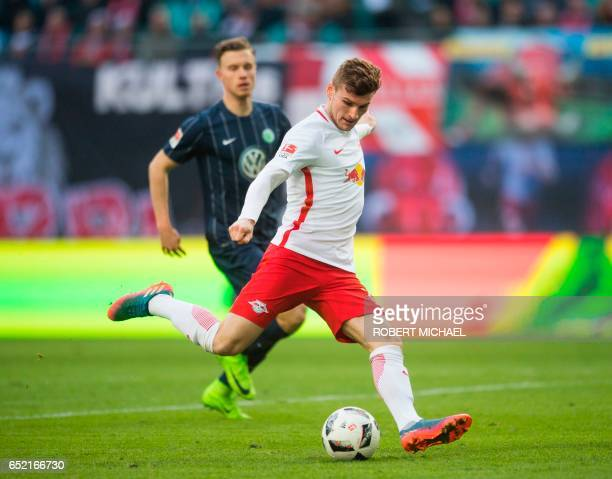 Leipzig's striker Timo Werner plays the ball during the German First division Bundesliga football match of RB Leipzig vs VfL Wolfsburg in Leipzig...