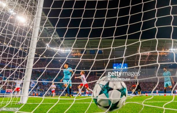 Leipzig´s Swedish forward Emil Forsberg celebrates scoring the 21 goal during the UEFA Champions League group G football match RB Leipzig v FC Porto...