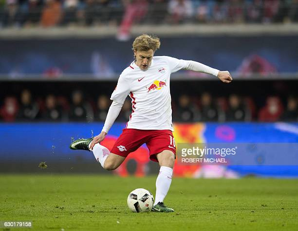 Leipzig´s Swedish forward Emil Forsberg plays during the German first division Bundesliga football match between RB Leipzig and Hertha BSC Berlin in...