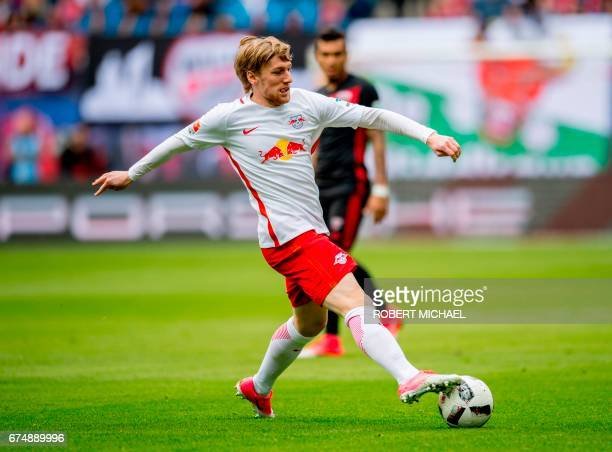 Leipzig´s Swedish forward Emil Forsberg plays the ball during the German first division Bundesliga football match between RB Leipzig and FC...