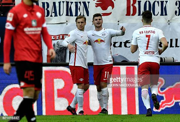 Leipzig's Swedish midfielder Emil Forsberg and Leipzig's forward Timo Werner celebrate after second goal during the German first division Bundesliga...