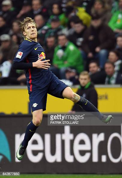 Leipzig´s Swedish midfielder Emil Forsberg celebrates scoring the 01 goal during the German first division Bundesliga football match Borussia...