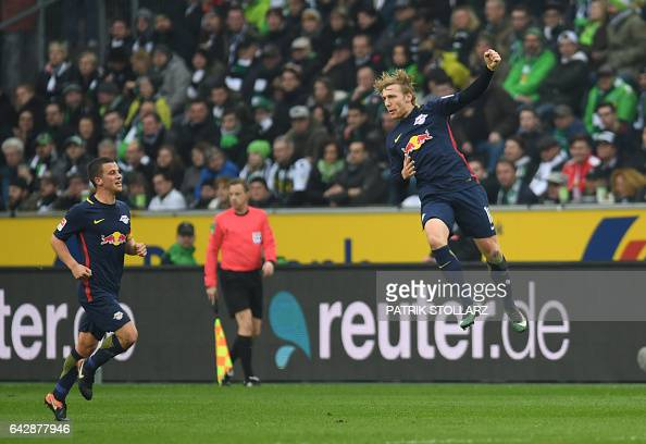 Leipzig´s Swedish midfielder Emil Forsberg celebrates scoring the 01 goal with his teammates during the German first division Bundesliga football...