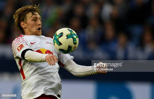 Leipzig´s Swedish midfielder Emil Forsberg plays the ball during the German First division Bundesliga football match FC Schalke 04 vs RB Leipzig in...