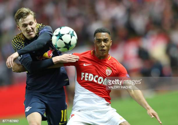 Leipzig's Swedish midfielder Emil Forsberg vies for the ball with Monaco's Belgian midfielder Youri Tielemans during the UEFA Champions League group...