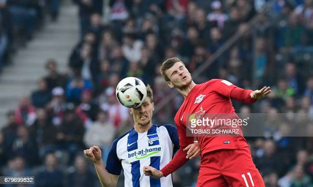 Leipzig's Timo Werner and Hertha Berlin's defender Sebastian Langkamp vie for the ball during the German First division Bundesliga football match...