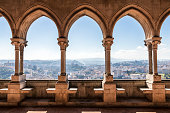 Leiria, Portugal. Overlooking view of the city of Leiria from the Gothic arcade of the Paco de D Joao I (Palace of John I)
