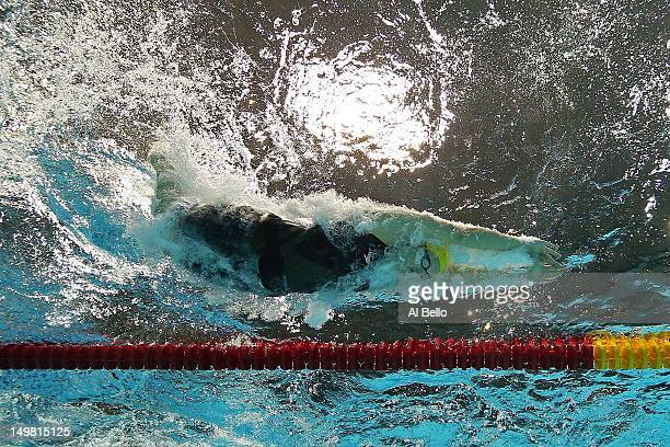 Leisel Jones of Australia dives into the water for the second leg of the Women's 4x100m Medley Relay on Day 8 of the London 2012 Olympic Games at the...