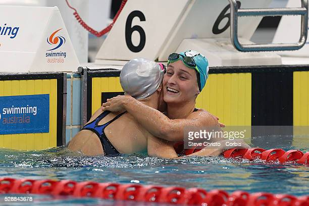 Leiston Pickett hugs Sally Hunter after the Women's 50m Breaststroke final during the Hancock Prospecting Australian Swimming Championships at the...