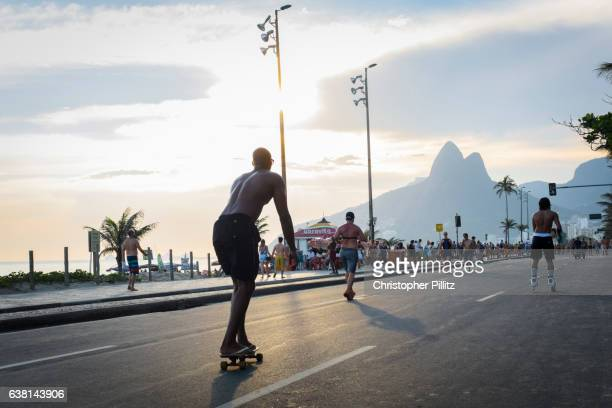 Leisure activities along Ipanema beach.