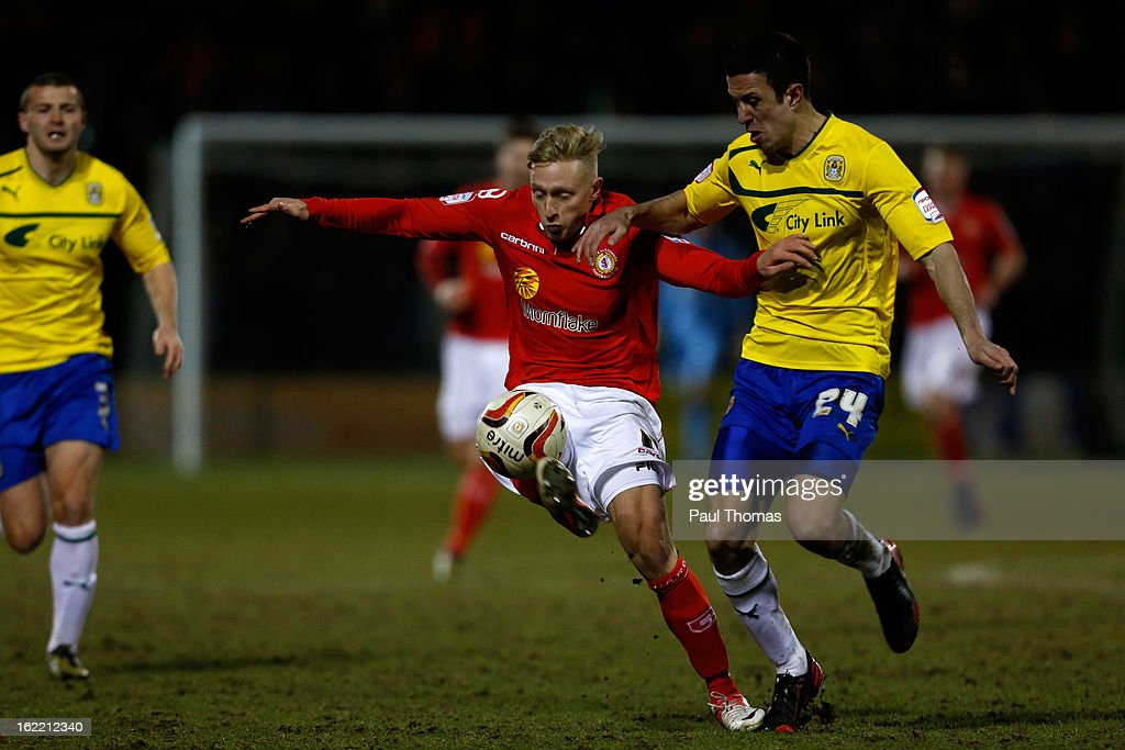 AJ Leitch-Smith (L) of Crewe in action with Richard Wood of Coventry during the Johnstone's Paint Trophy Northern Section Final Second Leg match between Crewe Alexandra and Coventry City at the Alexandra Stadium on February 20, 2013 in Crewe, England.
