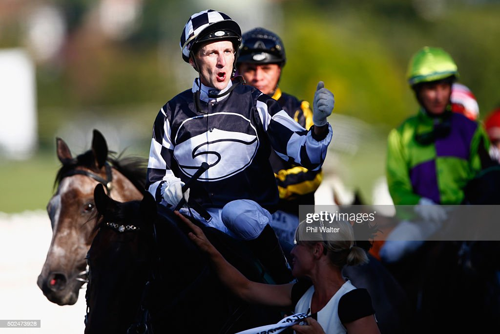 Leith Innes riding Kawi celebrates winning the Zabeel Classic during the Boxing Day races at Ellerslie on December 26 2015 in Auckland New Zealand