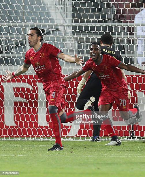 Lekhwiya's Chico Flores celebrates after scoring during their AFC Champions League football match against AlNassr at Abdullah Bin Khalifa Stadium in...