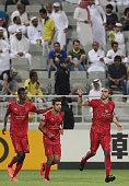 Lekhwiya's Chico Flores celebrates his goal during their AFC Champions League football match against AlNassr at Abdullah Bin Khalifa Stadium in Doha...
