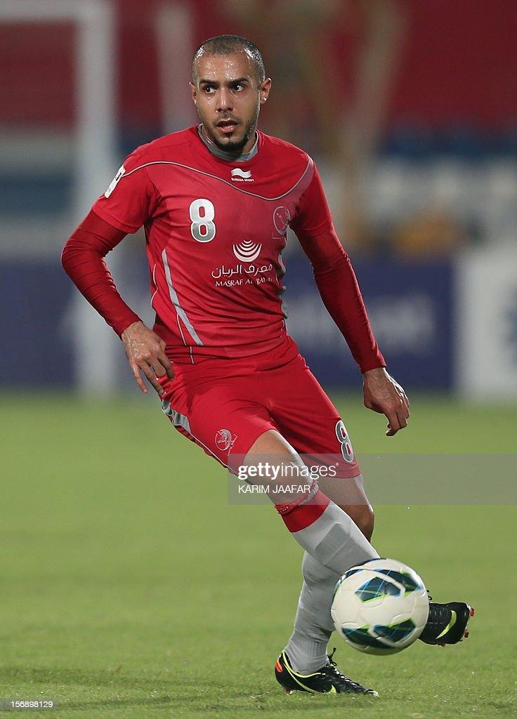Lekhwiya's player Hussain Ali Shihab controls the ball during a Qatar Stars football League match against Al-Kharaitiyat in Doha on November 24, 2012.