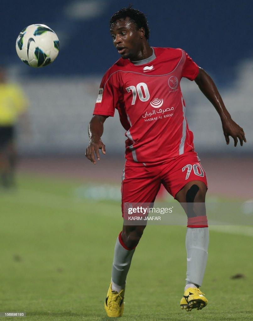 Lekhwiya's player Ismail Mohammed controls the ball during a Qatar Stars football League match against Al-Kharaitiyat in Doha on November 24, 2012.