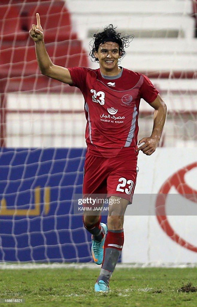 Lekhwiya's Sebastian Soria celebrates after scoring a goal against AlSailiya during their Qatar Stars football League match in Doha on December 21...