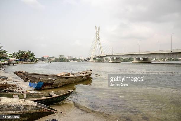 Lekki Ikoyi Bridge with fishing boat, Lagos, Nigeria