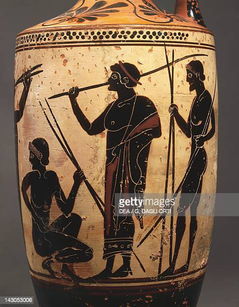 Lekythos depicting Javelin throwers attributed to the Edinburgh painter blackfigure pottery Italy Detail Ancient Greek civilization Magna Graecia 5th...