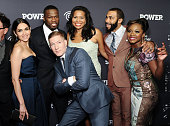 Lela Loren 50 Cent Joseph Sikora Courtney Kemp Agboh Omari Hardwick and Naturi Naughton attend the 'Power' Season Two Series Premiere at Best Buy...