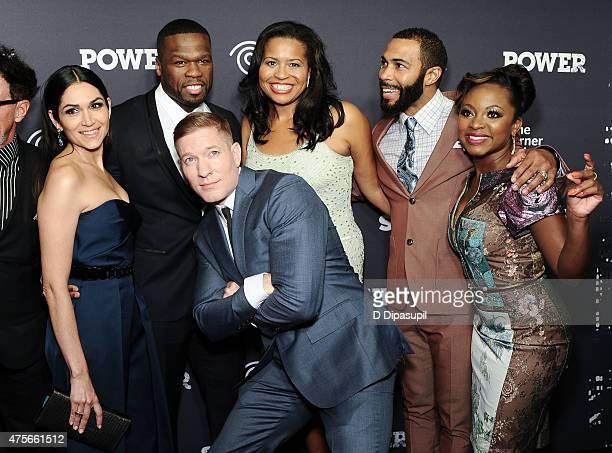 Lela Loren 50 Cent Joseph Sikora Courtney Kemp Agboh Omari Hardwick and Naturi Naughton attend the 'Power' Season Two Series Premiere at Best Buy...