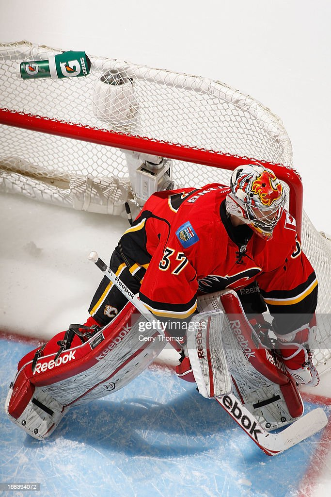 <a gi-track='captionPersonalityLinkClicked' href=/galleries/search?phrase=Leland+Irving&family=editorial&specificpeople=540474 ng-click='$event.stopPropagation()'>Leland Irving</a> #37 of the Calgary Flames in a game against the Dallas Stars on February 13, 2013 at the Scotiabank Saddledome in Calgary, Alberta, Canada.