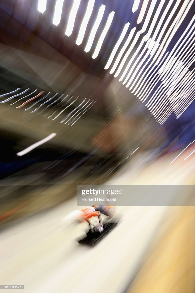 Lelde Priedulena of Latvia launches herself down the track during the Women's Skeleton Viessman FIBT Bob & Skeleton World Cup at the Sanki Sliding Center in Krasnya Polyana on February 16, 2013 in Sochi, Russia. Sochi is preparing for the 2014 Winter Olympics with test events across the venues.