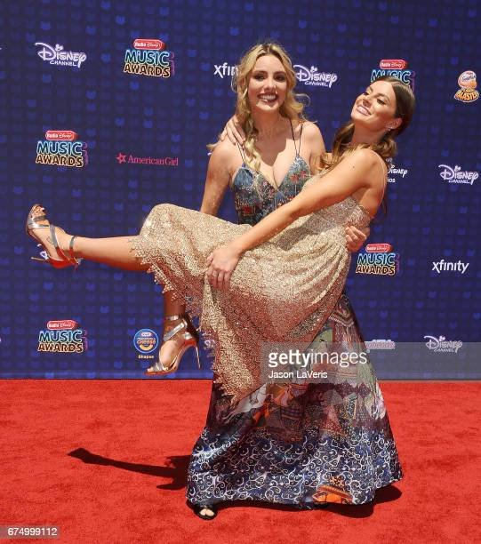 Lele Pons and Hannah Stocking attend the 2017 Radio Disney Music Awards at Microsoft Theater on April 29 2017 in Los Angeles California