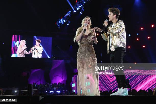 Lele Pons and Juanpa Zurita speak on stage during the MTV MIAW Awards 2017 at Palacio de Los Deportes on June 3 2017 in Mexico City Mexico