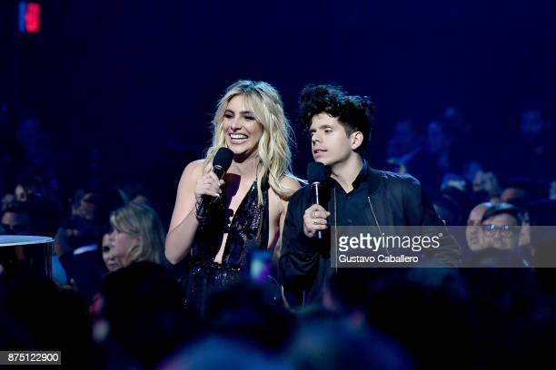 Lele Pons and Rudy Mancuso speak during The 18th Annual Latin Grammy Awards at MGM Grand Garden Arena on November 16 2017 in Las Vegas Nevada