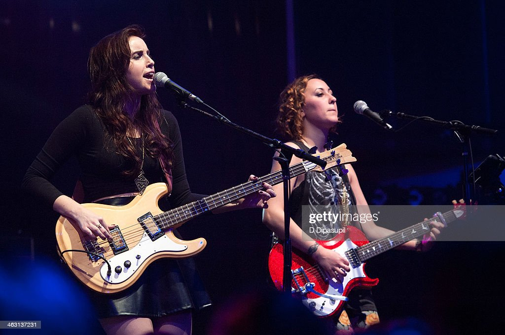 Lelia Broussard (L) and Bess Rogers of Secret Someones perform at Highline Ballroom on January 16, 2014 in New York City.