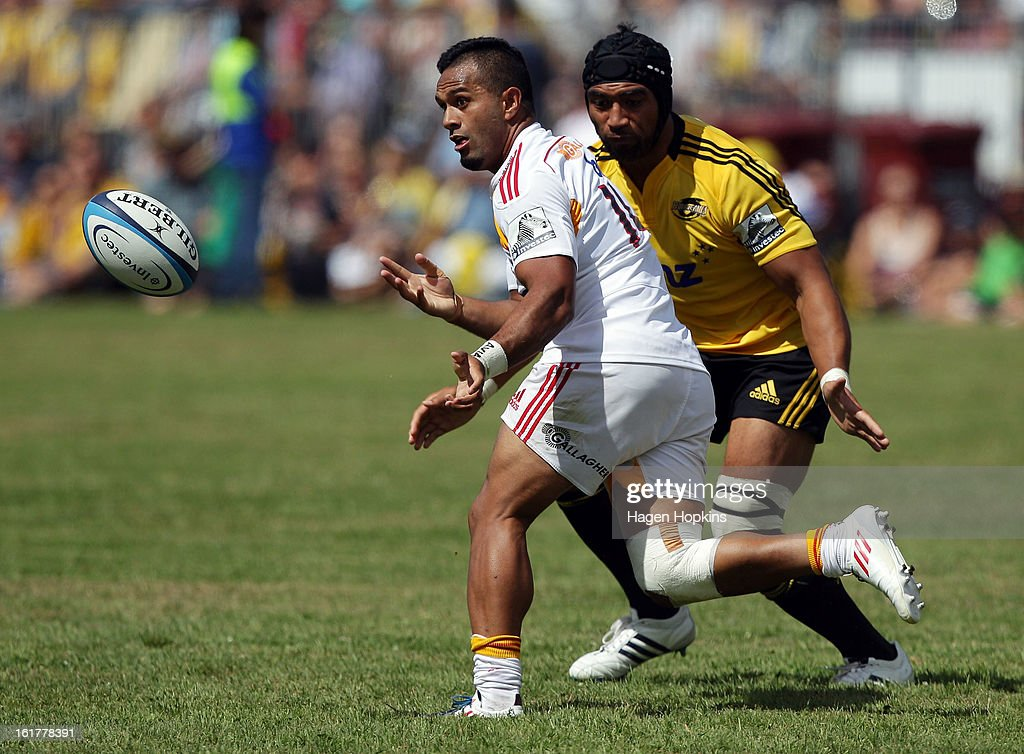 Lelia Masaga of the Chiefs passes during the Super Rugby trial match between the Hurricanes and the Chiefs at Mangatainoka RFC on February 16, 2013 in Mangatainoka, New Zealand.