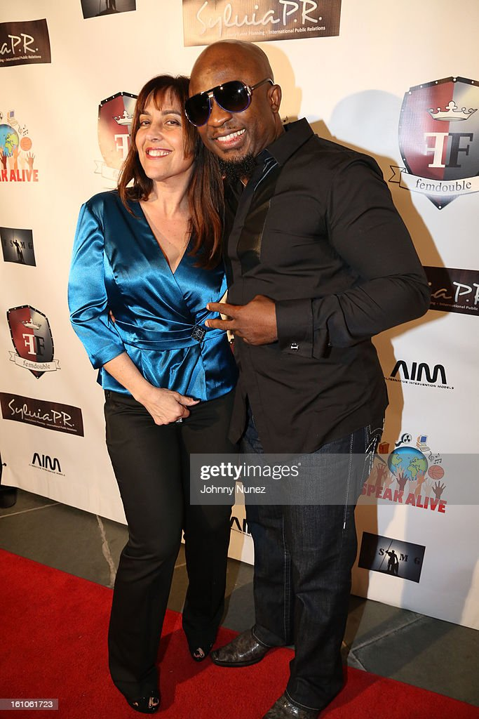 Lelia Steinberg and Femi Ojetunde attend the Femdouble Producers Choice Honorees Gala at Bel Air Ship Mansion on February 8, 2013 in Belair, California.