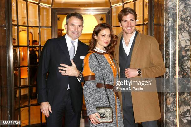Lelio Gavazza Valeria Bilello and Alan Cappelli Goetz attend Christmas Lights At Bvlgari Boutique Rome on December 7 2017 in Rome Italy